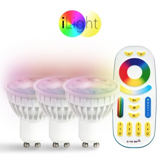 Starter-Set 3x GU10 iLight LED + Fernbedienung RGB+CCT LED Leuchtmittel Lampe