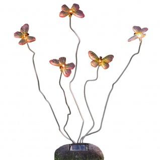 LED Schmetterling Assisi Solar Steinoptik 5-flg. Solar Gartenlampe Gartenleuchte