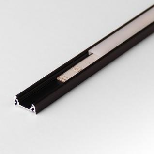 2m Aufbau-Aluprofil-Set für LED-Strips Abdeckung matt Alu Schwarz eloxiert