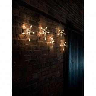 LED Lichtervorhang 5 Acrylsterne 40 Warmweiße Dioden 24V Außentrafo