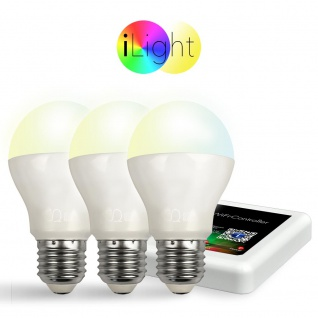 Starter-Set 3x E27 iLight LED + WiFi-Box CCT LED Leuchtmittel Lampe Dual-White