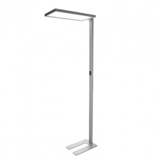 LED Büro Stehleuchte Motion 6500lm Präsenz- & Tageslichtsensor Silberfarben