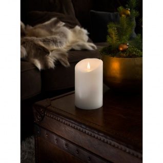 LED Echtwachskerze weiß mit 3D Flamme Ø 10cm Höhe: 16cm Timer Warmweiße Dioden batteriebetrieben für Innen