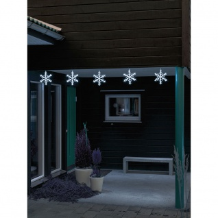 LED Acryl Schneeflocken Lichtervorhang 5er-Set 60 Kaltweiße Dioden 24V Außentrafo