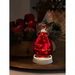 LED Glasfigur Engel rot groß mit 3 Funktionen Timer 1 Warmweiße Diode batteriebetrieben für Innen(exkl.)