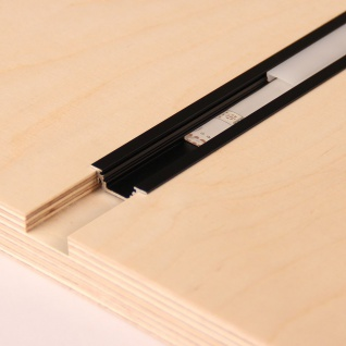 2m Einbau-Aluprofil-Erweiterungsset für LED-Strips Abdeckung matt Alu Schwarz eloxiert