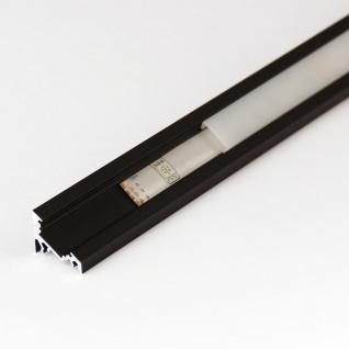 2m Eck-Aluprofil-Erweiterungsset für LED-Strips / Abdeckung klar / Alu Schwarz eloxiert