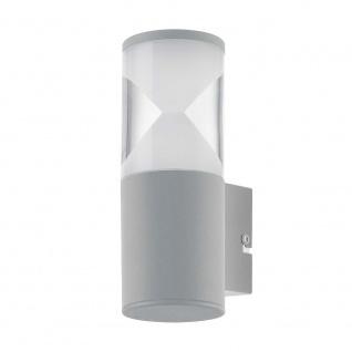 LED Aussen-Wandlampe Helvella Silber, Klar-Satiniert