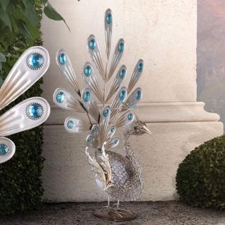 LED-Solarleuchte Pfau mit blauen Dekokristallen 56cm Solar Gartenlampe Gartenleuchte