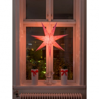 Konstsmide 2982-134 Pinker Papierstern perforiert und pink bestickt 7 Zacken inkl. Anschlusskabel mit an/aus Schalter ohne Leuchtmittel E14 Lampenhalterung für Innenbereich