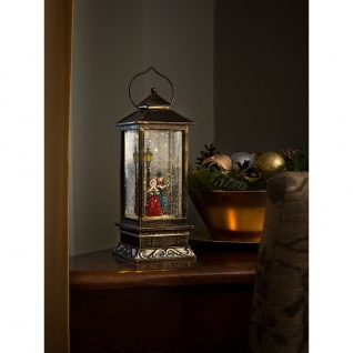 LED Schneelaterne Charles Dickens Style mit 5h Timer wassergefüllt 1 Warmweiße Diode batteriebetrieben für Innen