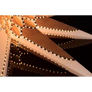 Weißer Papierstern perforiert mit gold/braun bedrucktem Muster 9 Zacken ohne Leuchtmittel für Innen - Vorschau 3