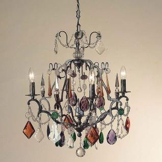 Holländer 164 1501 Hängeleuchte 4-flammig Symphonie Color Bronze-Bleikristall Altsilber Patinier