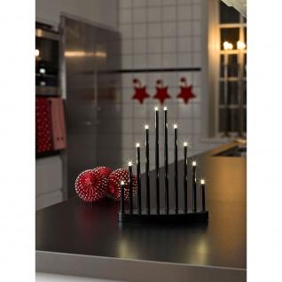 LED Metallleuchter schwarz lackiert klein 10 Warmweiße Dioden 3V Innentrafo