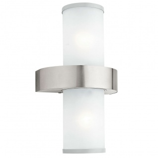 Eglo 86541 Beverly Aussen-Wandleuchte 2-flammig Edelstahl Silber Weiß