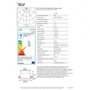SLV OUT 65 LED DL Round Set Downlight Silbergrau 9W 38° 3000K inkl. Treiber 114464 - Vorschau 2