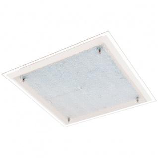 Eglo 94448 Priola LED Wand & Deckenleuchte 4 x 67 W Stahl Weiss Chrom Glas mit Struktur Wei