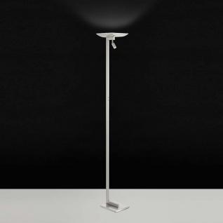LED Stehleuchte mit Leselicht Benamor Nickel-Matt, Chrom