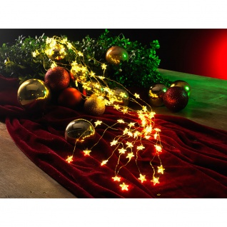 LED Sternenlametta 10 Stränge mit 20 Dioden 200 Warmweiße Dioden 12V Innentrafo goldfarbener Draht