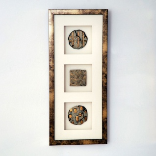 Holländer 306 3140 Wandbild Diviso 1 Holz-Glas-Kunststein Gold-Silber-Creme