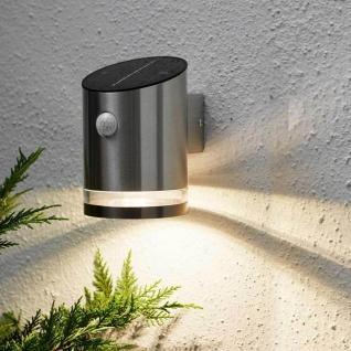 Premium LED Solar Wandleuchte mit Bewegungsmelder Edelstahl Solar Gartenlampe Gartenleuchte