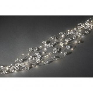 LED Diamantenlametta 10 Stränge mit 9 Dioden 90 Warmweiße Dioden 12V Innentrafo silberfarbener Draht