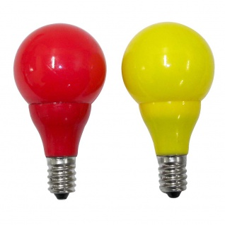 LED Birne für Biergartenketten 2er-Blister 3 rote 3 gelbe Dioden 24V 0.24W E14 Schraubgewinde