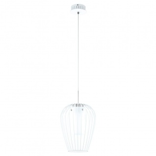 Eglo 94337 Vencino LED Hängeleuchte 1 x 9 W Stahl Weiss Chrom Glas satiniert Weiss lackiert