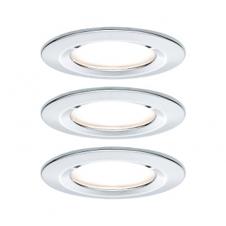 Paulmann Einbauleuchten-Set Nova rund starr LED IP44 3x6, 5W 2700K 230V GU10 51mm Chrom/Alu Zink 93445
