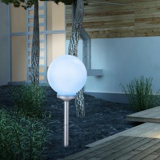 Solarleuchte LED Erdspitz mit Kugel Ø 25cm Weiß Solar Gartenlampe Gartenleuchte