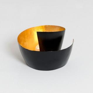 Holländer 257 3588 Windlicht 1-flg. Zucchero Metall Schwarz-Gold