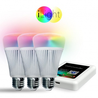 Starter-Set 3x E27 iLight LED + WiFi-Box RGB+CCT LED Leuchtmittel Lampe