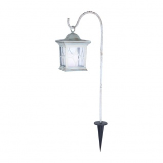 Rustikale LED Solar Laterne 68cm Weiß Solar Gartenlampe Gartenleuchte