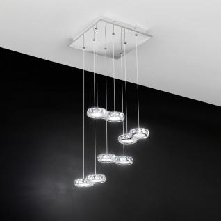 Corliano Kristall LED Hängeleuchte Chrom 8 x 4, 2W Hängelampe