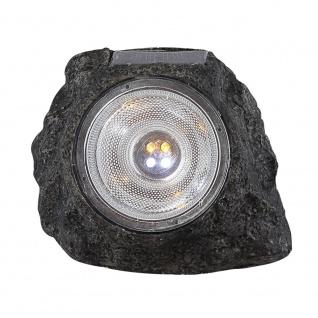 LED Solarstein 15 x 10cm Steinoptik Grau Solar Gartenlampe Gartenleuchte