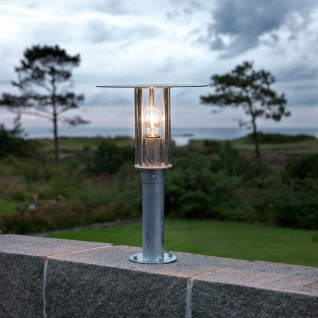 Konstsmide 661-320 Mode Sockelleuchte galvanisierter Stahl klares Polycarbonat Glas