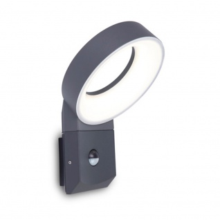Lutec Meridian LED-Außenwandleuchte mit Bewegungsmelder IP54 800lm Anthrazit