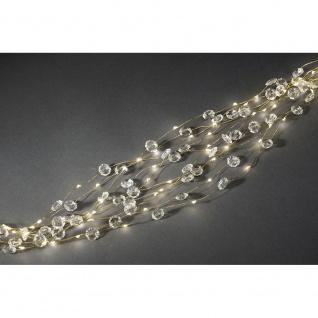 LED Diamantenlametta 10 Stränge mit 9 Dioden 90 Warmweiße Dioden 12V Innentrafo goldfarbener Draht