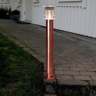 Premium LED Solar Wegeleuchte 78cm Kupfer Solar Gartenlampe Gartenleuchte