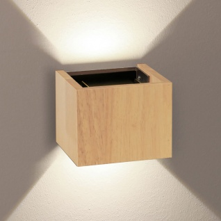 s.LUCE pro LED Wandleuchte Ixa Würfelförmig verstellbare Winkel Holz Wandlampe