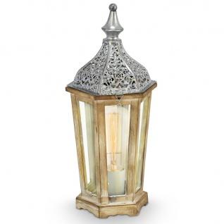 Vintage Tischleuchte 1-flammig Stahl Holz Glas silber klar Tischlampe