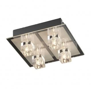 LeuchtenDirekt 50285-17 Oki LED Deckenleuchte 4 x G4 14W + 4 x LED 0, 36W RGBK Silberfarben
