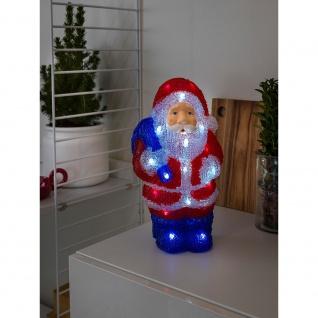 LED Acryl Weihnachtsmann 24 Kaltweiße Dioden batteriebetrieben für Innen