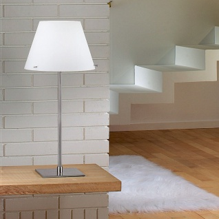 Fabas Luce 2476-35-178 Alexia Tischleuchte LED-Dimmer Glasschirm Nickel-Satiniert Weiß