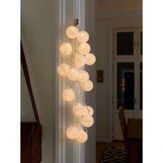 LED Dekolichterkette weiße Baumwollkugeln groß 16 Warmweiße Dioden 24V Innentrafo