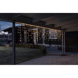 Konstsmide 4720-112 Maxi LED kompakt System Basis-Sett: Eisregen Lichtervorhang + Transformator für max. 450 Dioden 60 m (nicht kompatibel mit 3656/3657) 100 warmweisse große Dioden 24V Außentrafo (IP44 IP67) weißes Soft-Kabel