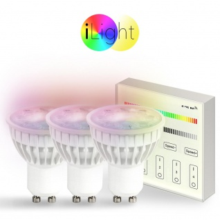 Starter-Set 3x GU10 iLight LED + Touch-Panel RGB+CCT LED Leuchtmittel Lampe