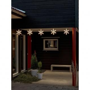 LED Acryl Schneeflocken Lichtervorhang 5er-Set 60 Warmweiße Dioden 24V Außentrafo