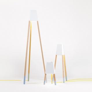 Licht-Trend La3b 50 Tischleuchte mit Holzfuß aus Eiche Weiss Dreibeinleuchte - Vorschau 3