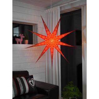 Konstsmide 2988-520 Roter Papierstern perforiert und mit weiß bedrucktem Muster 9 Zacken inkl. Anschlusskabel mit an/aus Schalter ohne Leuchtmittel E14 Lampenhalterung für Innenbereich